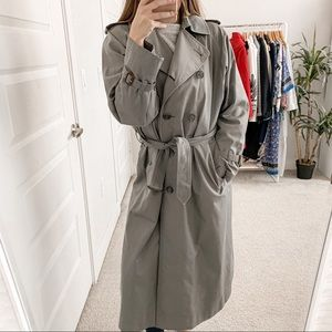 Burberry Chelsea Double Breasted Trench Coat Gray